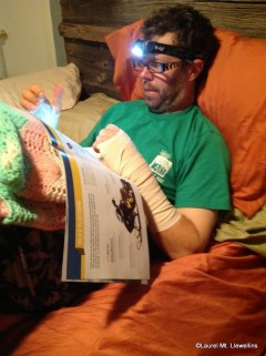 Scott wearing the Remix while reading following surgery.